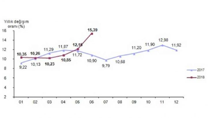 Yıllık Enflasyon 15,39'a Yükseldi